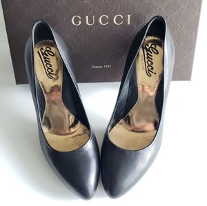 GUCCI Black Leather Platform Heels Nappa Steve US7
